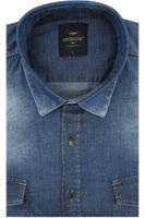 Koszula Męska Redpolo jeansowa gładka niebieska na długi rękaw w kroju SLIM FIT A288 3XL 47 182/188