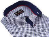Biała koszula - granatowe koniczynki A10 KRÓTKI RĘKAW Rozmiar koszuli i fason - Wybierz rozmiar zdjęcie 2