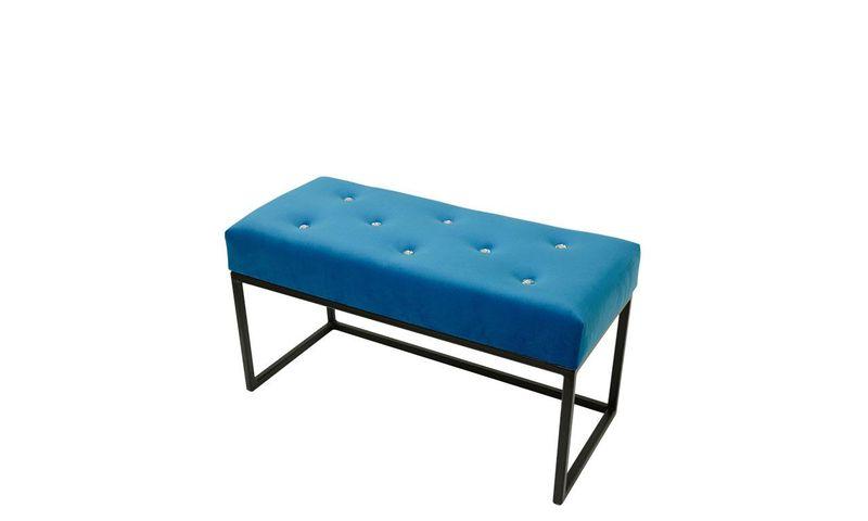 Elegancka pikowana pufa glamour mała Queens Niebieska zdjęcie 1