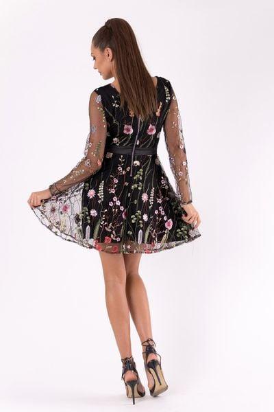 Sukienka w kwiaty z długim rękawem z siateczki czarna Rozmiar S