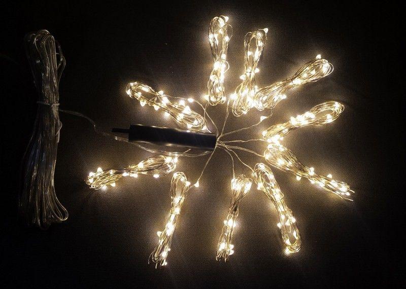 Lampki Na Druciku 10 Wiązek Po 2 M 200 Led Zewnętrzne Oświetlenie świąteczne Nr 0233 Wybierz Kolor światła Zimny Biały