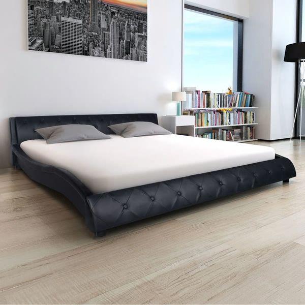 łóżko Rama łóżka Skórzana Z Materacem Memory 180cm Czarne Do Sypialni
