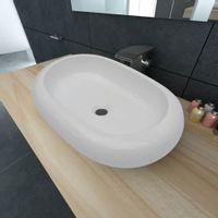 Luksusowa ceramiczna umywalka, owalna, biała, 63 x 42 cm