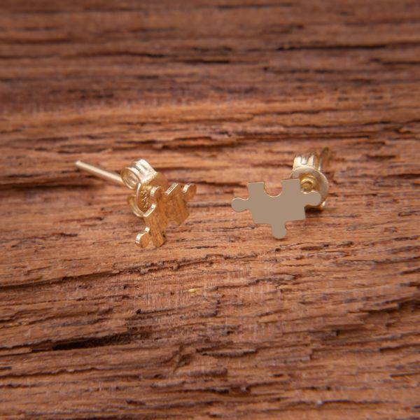 Złote Kolczyki Sztyfty Celebrytka Puzzel zdjęcie 3