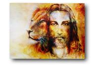 Obraz na płótnie wzór JEZUS I LEW 30x40 cm