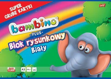 Blok rysunkowy A3 biały BAMBINO 20 kartek 100g