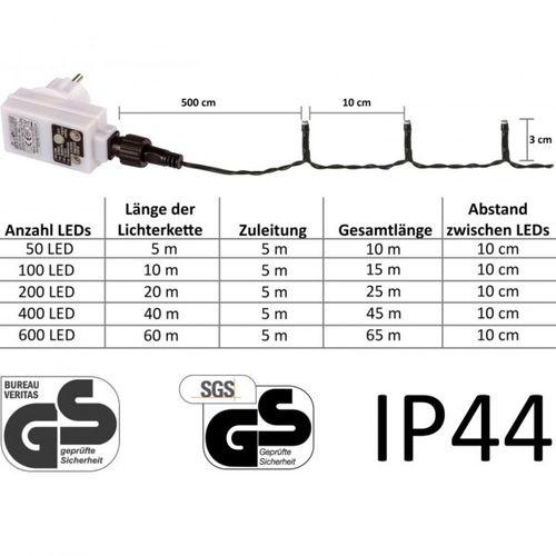 Lampki choinkowe 100 LED ciepłe/zimne, kabel zielony na Arena.pl