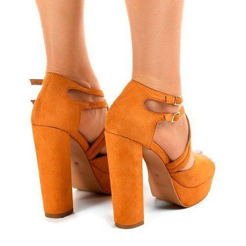 Pomarańczowe sandały na słupku zamszowe r.39 zdjęcie 4