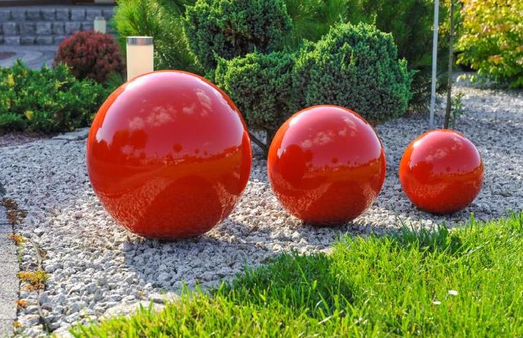Kula ogrodowa Era 50cm kula dekoracyjna z żywicy poliestrowej czerwona zdjęcie 1