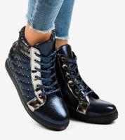 Granatowe sneakersy na koturnie R468-1 40