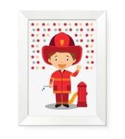 Obrazki obrazy plakaty grafiki dla dzieci zawód STRAŻAK