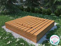 Piaskownica drewniana zamykana 160x160 z ławeczkami (impregnowana)