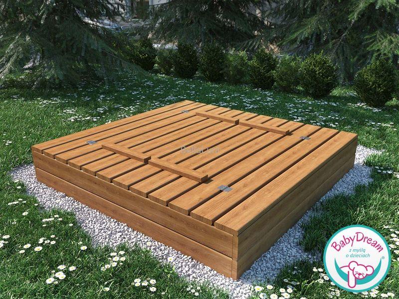 Piaskownica drewniana zamykana 160x160 z ławeczkami (impregnowana) na Arena.pl