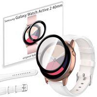 Pasek skórzany i szkło 3D do Samsung Galaxy Watch Active 2 40mm biały