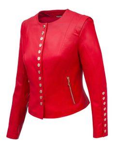ALEXANDRA MILANO ETNA Czerwona kurtka ze skóry jagnięcej typu chanelka ze złotymi guzikami. 40 IT