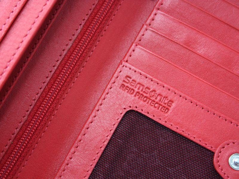 Skórzany, czerwony portfel damski Samsonite RFID zdjęcie 5