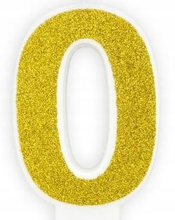 Świeczka na tort cyferka 0 złota brokatowa