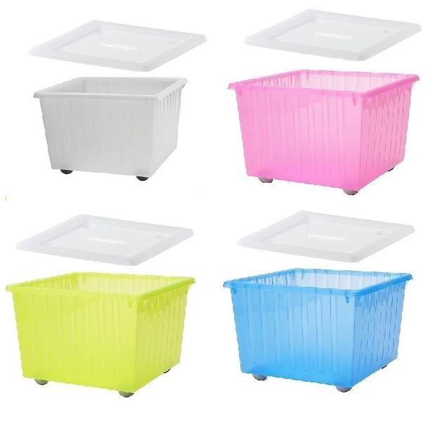 VESSLA Pojemnik na kółkach z pokrywą Ikea różne kolory zdjęcie 1