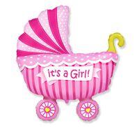Balon foliowy wózek różowy, 35 cm