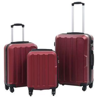 Zestaw twardych walizek, 3 szt., kolor czerwonego wina, ABS 91874