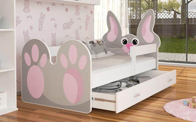 Łóżko KRÓLIK 140x80 + szuflada + materac zdjęcie 1