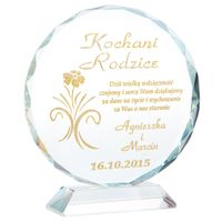Podziękowania dla RODZICÓW Kryształ GRAWER złoty