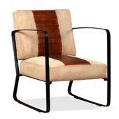 Fotel z prawdziwej skóry i płótna, brązowy