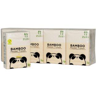 Bambusowe Chusteczki Kieszonkowe - 4 warstowe - 8 paczek - Zuzii