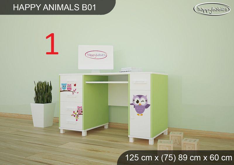 BIURKO DZIECIĘCE  HAPPY ANIMALS B01 AM01 Zielone zdjęcie 1