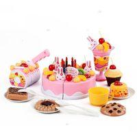 Tort urodzinowy do krojenia, kuchnia - 75 el. różowy #E1