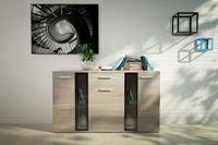 Komoda szafka do salonu 140 cm dąb sonoma półki szuflada meble pokojow
