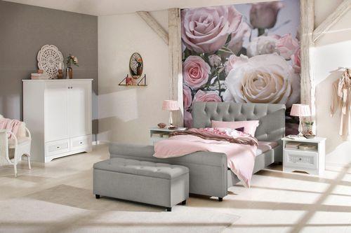 Atrakcyjne tapicerowane łóżko ze stylowym wezgłowiem na Arena.pl