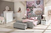 Atrakcyjne tapicerowane łóżko ze stylowym wezgłowiem zdjęcie 2