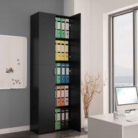 Szafa biurowa, czarna, 60x32x190 cm, płyta wiórowa
