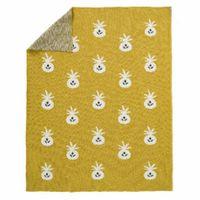 Fresk tkany kocyk z bawełny organicznej 80 x 100 cm ananas mustard