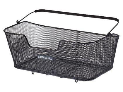 Kosz na tylny bagażnik BASIL BASE XL + haczyki mocujące, stalowy czarny