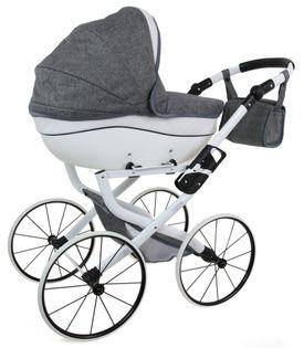 DUŻY POLSKI Wózek dla lalek lalkowy RETRO + SKÓRA. Metalowe Koła