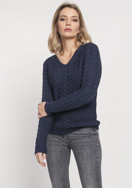 Sweter z warkoczami - Granatowy S na Arena.pl