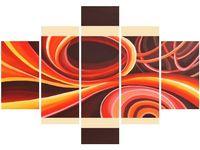 70 100cm obraz 5 elem Pomarańczowy wir druk płótno ściana