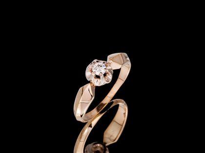 P702 Złoty pierścionek. Chaton z brylantem. Zaręczynowy. 585