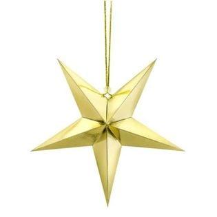 """Dekoracja """"Gwiazda 3D"""", papierowa, PartyDeco, złota, 30cm"""