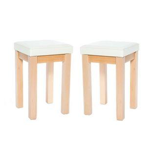 TABORET ERGO z miękkim siedziskiem stołek DREWNIANY bejcowany BIAŁY