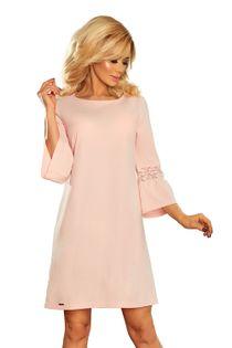 Taliowana sukienka z koronkowymi wstawkami na rękawach - Różowy S