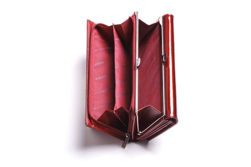 Duży portfel skórzany damski Zagatto czerwony liście RFID ZG-150 Leaf zdjęcie 4