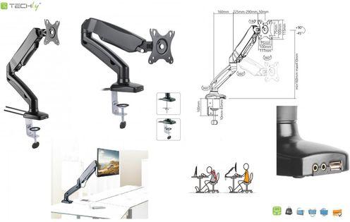 """Ramię biurkowe LCD/LED Techly ICA-LCD 514 13-27"""", sprężyna gazowa, USB/Aucdio"""