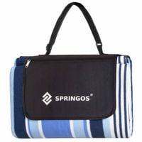 Koc plażowy piknikowy 220x180cm mata niebieskie pasy