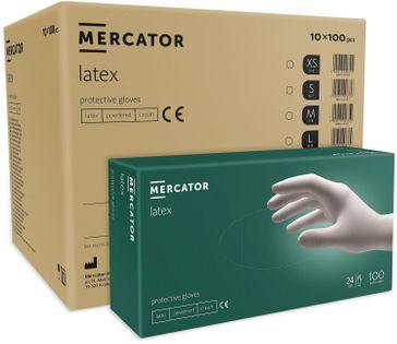 Rękawice lateksowe  MERCATOR® simple latex S karton 10 x100 szt