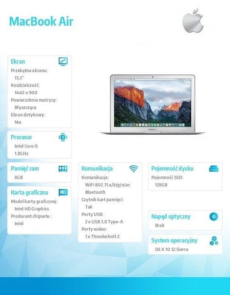 Apple MacBook Air 13, i5 1.8GHz/8GB/128GB SSD/Intel HD 6000 zdjęcie 6