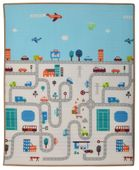 Humbi Dwustronna edukacyjna mata piankowa Uliczki Zwierzęta 180 x 150 x 2 cm pastelowa gruba