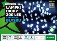Sznur świetlny 20 m • 200 LED • z Błyskiem • zewnętrzne lampki choinkowe NR 1784 Niebieski